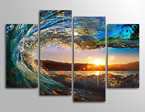 Ocean Canvas Art Waves Sunset Wall Decor Prints Large Modern Artwork Nature Pictures Surfing For Home Decoration
