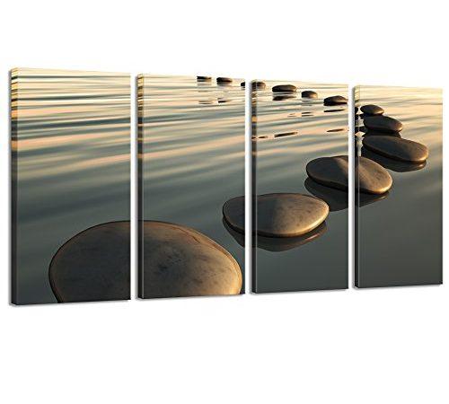 Live Art Decor Large Zen Canvas Wall Art Basalt Stone At Sunset
